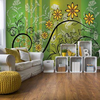 Murais de parede Modern Floral Design With Swirls Green And Yellow