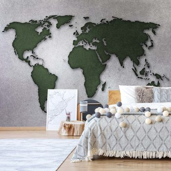 Papel de parede Modern World Map Silver