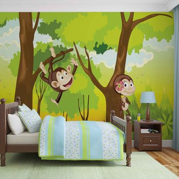 Papel de parede Monkeys Boys Bedroom