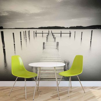 Papel de parede Nature Water Lake Jetty Black White