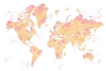 Papel de parede Ochre and pink watercolor world map, Amanda