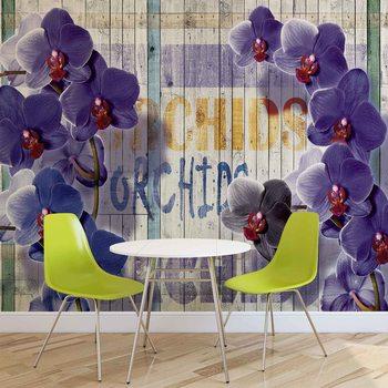 Murais de parede Orchidee na tle drewnianych desek