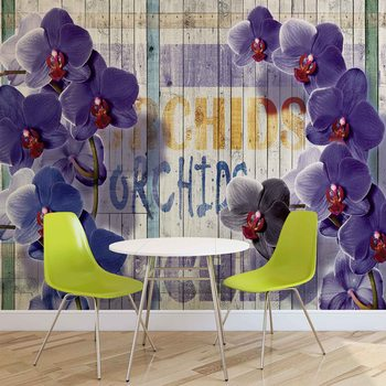 Papel de parede  Orchids Flowers Wooden Planks