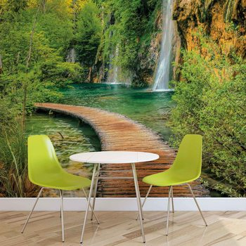 Papel de parede Path Sea Mountains Waterfall Forest