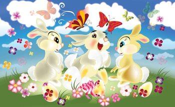 Papel de parede Rabbit Bunny Butterflies Flowers