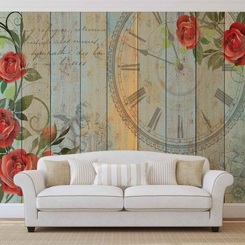 Papel de parede  Roses Clock Wood Planks Vintage