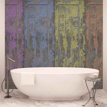 Papel de parede  Rustic Painted Wood Doors