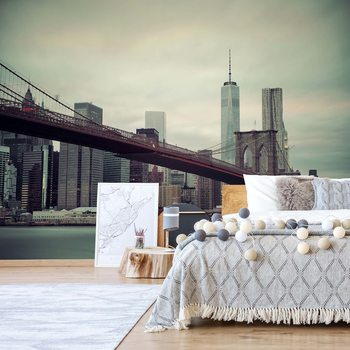 Papel de parede Sepia New York City Skyline Brooklyn Bridge