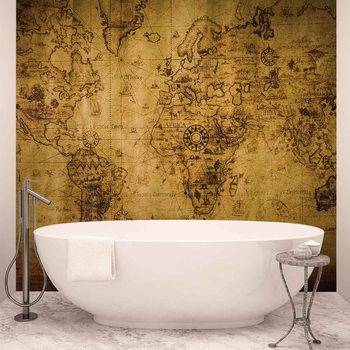 Papel de parede  Sepia World Map Vintage
