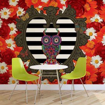 Murais de parede Sowa na tle czerwonych i białych kwiatów