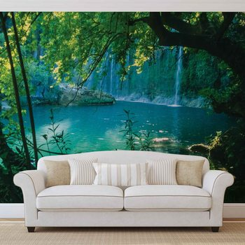 Papel de parede Tropical Waterfall Lagoon Forest