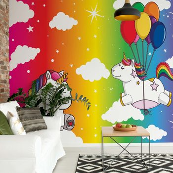 Papel de parede Unicorns Rainbow