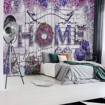 Papel de parede Vintage Chic Home Flowers And Wood Texture