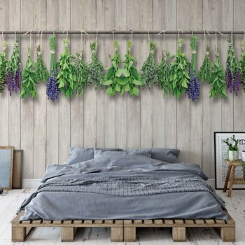 Papel de parede  Vintage Chic Wood Planks And Herbs