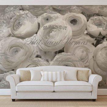 Papel de parede White Roses Vintage Effect