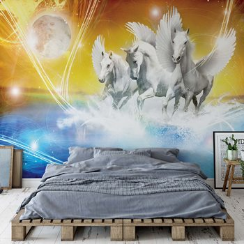 Papel de parede  Winged Horses Pegasus Yellow And Blue