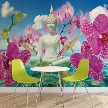 Papel de parede  Zen Flowers Orchids Buddha Water Sky