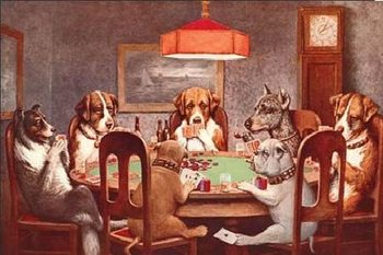 DOGS PLAYING POKER Panneau Mural