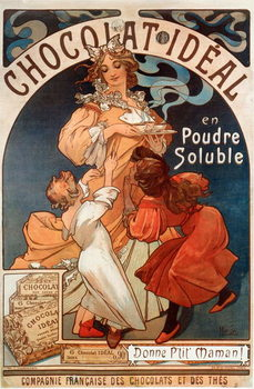 "Advertising poster by Alphonse Mucha  for chocolate ""Chocolate Ideal"" 1897- Advertising poster by Alphonse Mucha for ""Chocolate ideal"" Dim 78x117 cm 1897 Private collection Taidejuliste"
