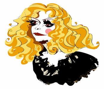 Alison Goldfrapp, English pop singer, colour caricature , 2010 by Neale Osborne Taidejuliste