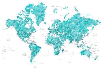 Kuva Aquamarine watercolor world map with cities, Caribbean waters