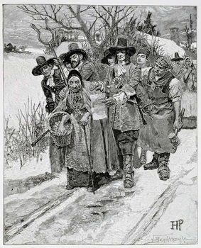 Arresting a Witch, engraved by J. Bernstrom, illustration from 'The Second Generation of Englishmen in America' by Thomas Wentworth Higginson, pub. in Harper's Magazine, 1883 Taidejuliste