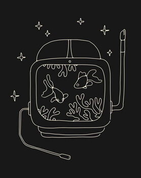 Astronaut Helmet in Water Taidejuliste