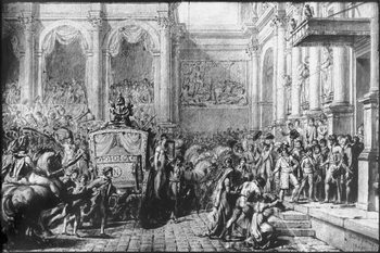 Back from the Consecration, Napoleon arriving at the Hotel de Ville, Paris, 1805 Taidejuliste