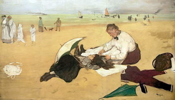 Beach scene: little girl having her hair combed by her nanny, c.1876-77 Taidejuliste