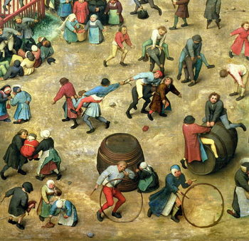 Children's Games (Kinderspiele): detail of bottom section showing various games, 1560 (oil on panel) Taidejuliste