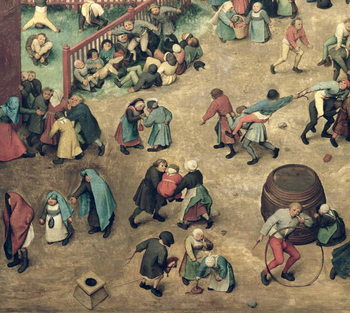 Children's Games (Kinderspiele): detail of left-hand section showing children bowling hoops, doing handstands, playing with a hobby-horse and other games, 1560 (oil on panel) Taidejuliste