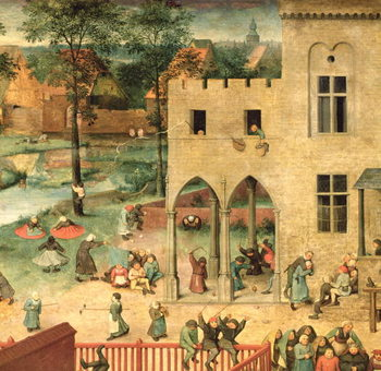 Children's Games (Kinderspiele): detail of top left-hand corner showing children spinning tops and playing bowls, 1560 (oil on panel) Taidejuliste