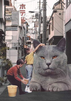 Children washing a giant Cat in Tokyo Streets Taidejuliste