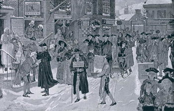 Christmas Morning in Old New York Before the Revolution, illustration from Harper's Weekly, pub. 25th December 1880 Taidejuliste
