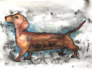 Dachshund 2018 ink and watercolour Taidejuliste