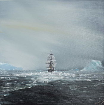 Discovery en route to Antarctica, 2014, Taidejuliste