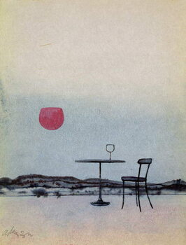 Displaced red wine from glass on outside table becomes the Setting Sun Taidejuliste