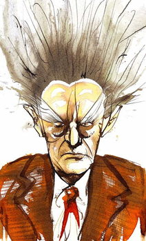 Edgard Varèse, American composer of French origin ; caricature Taidejuliste