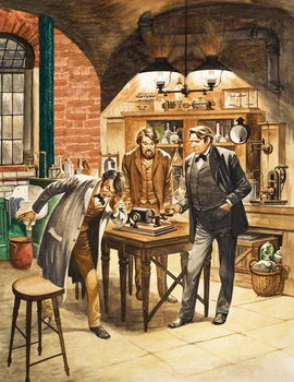 Edison demonstrating the first phonograph in his laboratory Taidejuliste