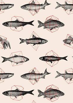 Fishes in Geometrics Taidejuliste
