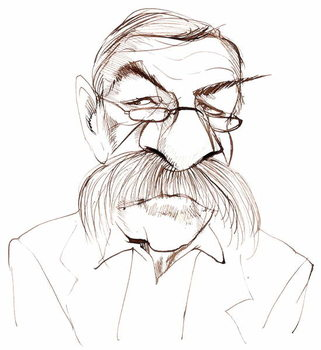 Günter Grass, German novelist, poet, playwright and artist; caricature Taidejuliste