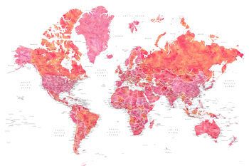 Kuva Hot pink and coral detailed world map with cities, Tatiana