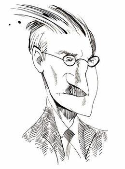 James Joyce - caricature of Irish writer Taidejuliste