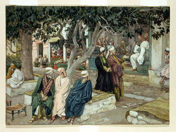 Jesus in a meeting with St. Matthew, illustration for 'The Life of Christ', c.1886-96 Taidejuliste