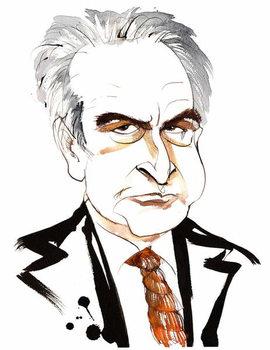 John Banville, Irish novelist and screenwriter; crime writer under the pen name Benjamin Black; caricature with noose tie Taidejuliste