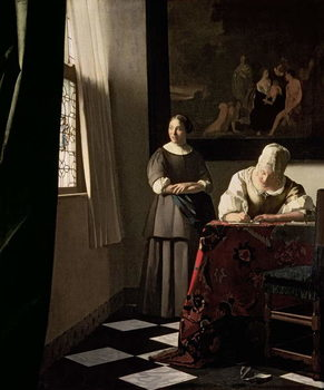 Lady writing a letter with her Maid, c.1670 Taidejuliste