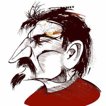 Lev Trotsky, Russian revolutionary , sepia line caricature Taidejuliste