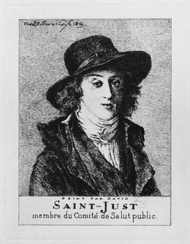 Louis Antoine Leon de Saint-Just, engraved by Frederic Desire Hillemacher (1811-86) 1869 Taidejuliste