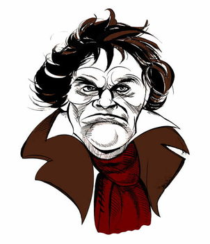Ludwig van Beethoven, German composer, 17 December  1770- 26 March 1827 Taidejuliste