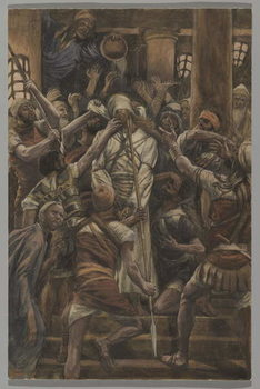 Maltreatments in the House of Caiaphas, illustration from 'The Life of Our Lord Jesus Christ', 1886-94 Taidejuliste